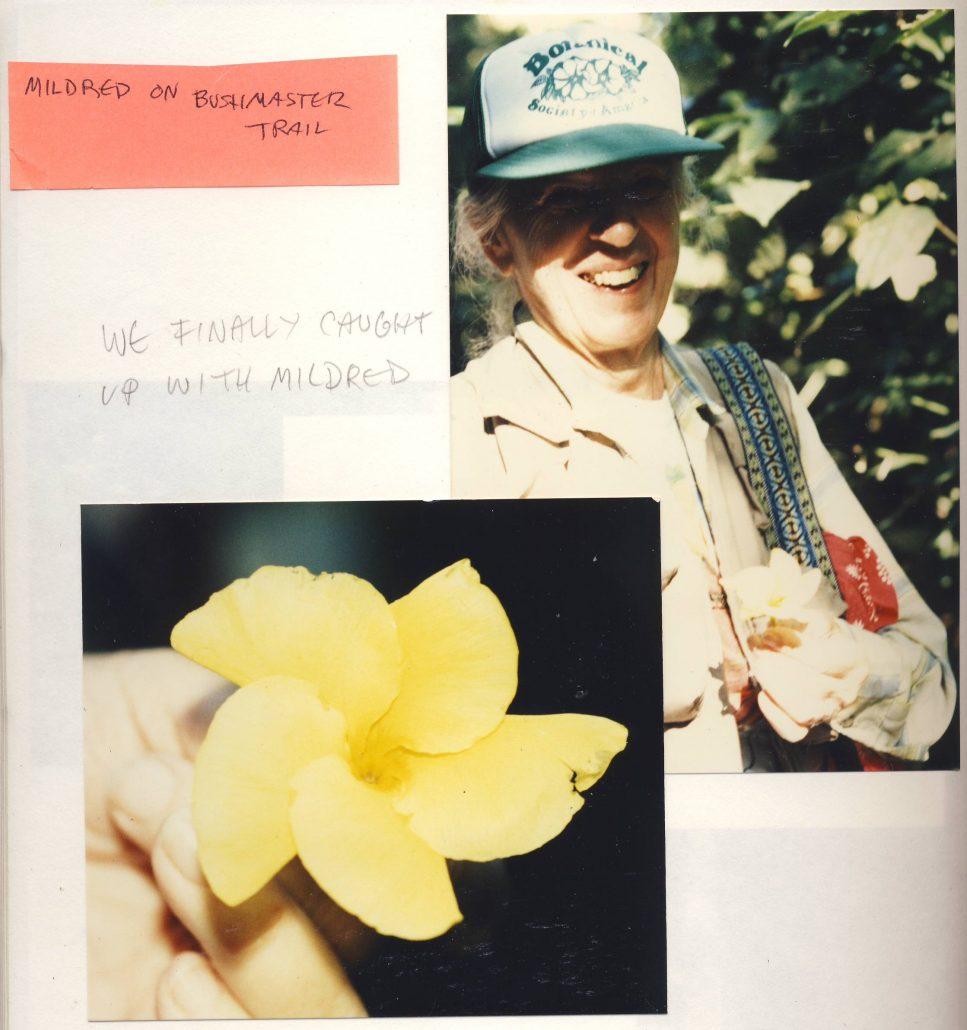 1987. Mildred Esther Mathias sur Bush Master Trail au Pérou. Sharon Belkin - Cultea