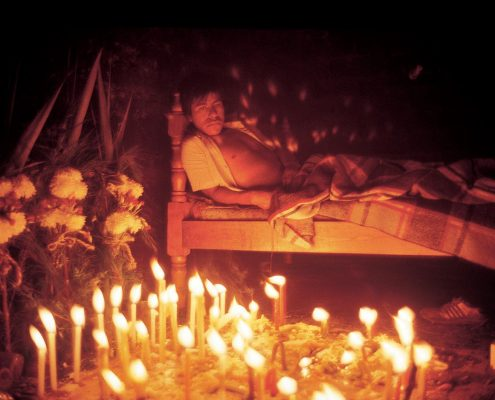"Curing ceremony (""taking candles""). Nabenchauk, 1991."